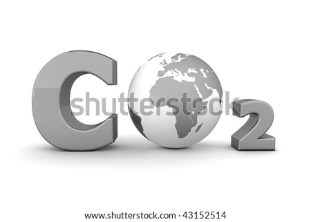 chemical symbol CO2 for carbon dioxide in shiny grey - a globe is replacing the letter o - stock photo