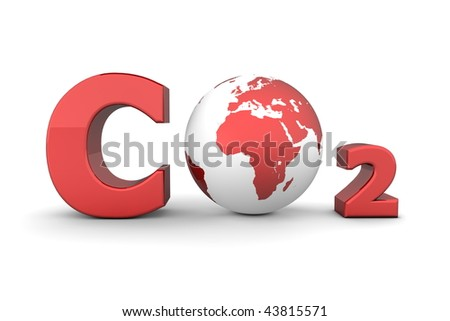 chemical symbol CO2 for carbon dioxide in shiny red - a globe is replacing the letter o - stock photo
