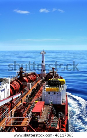 chemical tanker at sea - stock photo