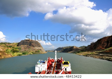 Chemical tanker going through the Panama Canal - stock photo