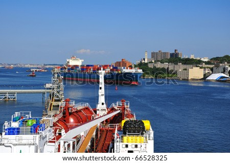 chemical tanker in port - stock photo