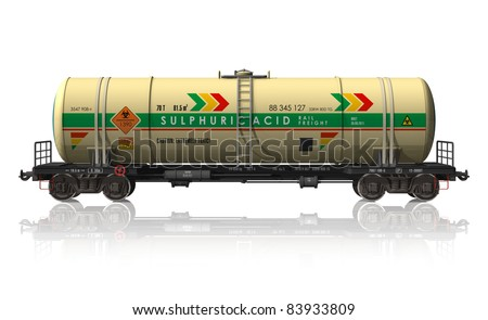 Chemical tanker railroad car isolated on white reflective background - stock photo