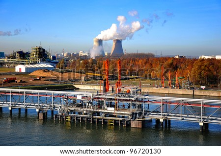 chemical terminal - stock photo