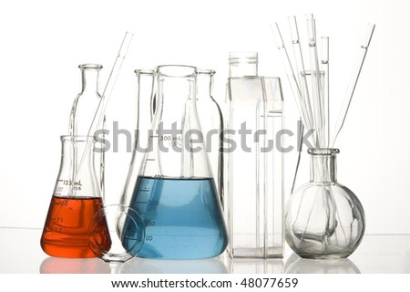 Chemical Test Tube . Medical experiment with Laboratory glass - stock photo