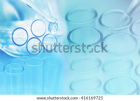 chemical test tube research at science lab background - stock photo