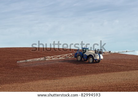 chemical treatment spraying pesticide - stock photo