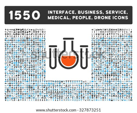 Chemical Vessels and other web interface, business tools, people poses, medical service glyph icons. Style is flat symbols, bicolored, rounded angles, white background.
