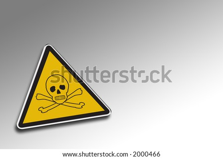 Chemical warning sign over gradient background - including clipping path for the warning sign - stock photo