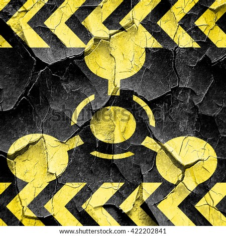 Chemical weapon sign, black and yellow rough hazard stripes - stock photo
