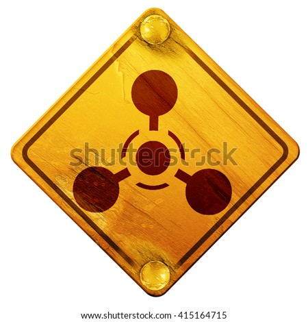 Chemical weapon sign, 3D rendering, isolated grunge yellow road  - stock photo