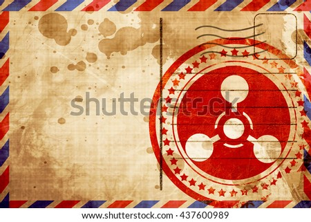 Chemical weapon sign, red grunge stamp on an airmail background - stock photo