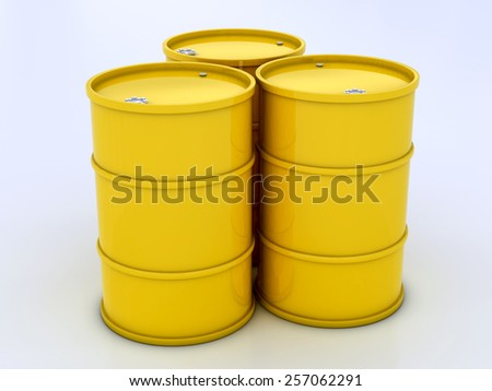 chemical yellow barrels on a white background
