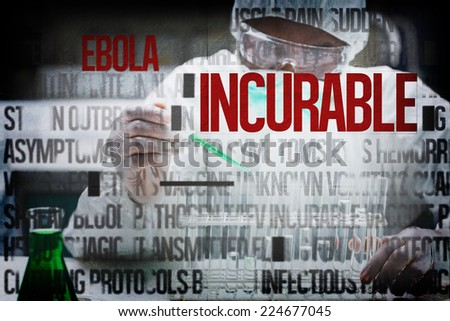 Chemist filling test tubes with green liquid against ebola words - stock photo