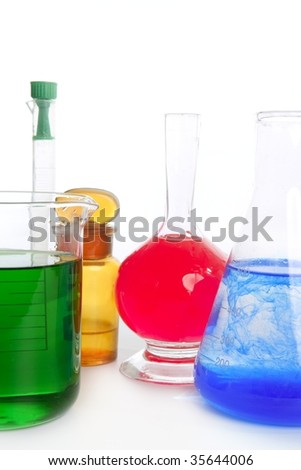 Chemist research laboratory with chemical colorful equipment over white