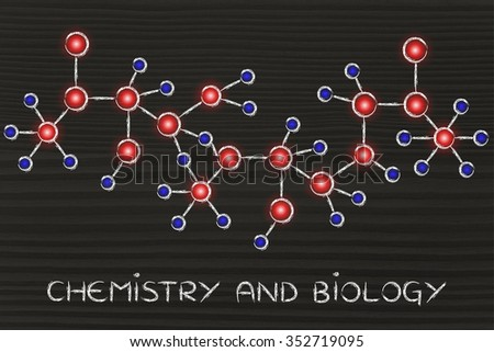 chemistry and biology: molecule inspired illustration with glowing centres (atoms) and connections