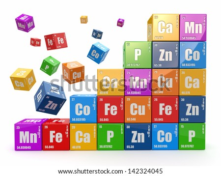 Chemistry concept. Wall from cubes wiyh periodic table of element. 3d - stock photo