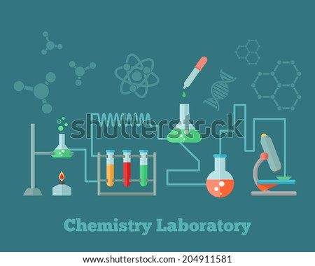 Chemistry education research laboratory equipment microscope emblem with background dna molecule structure formulas concept poster  illustration