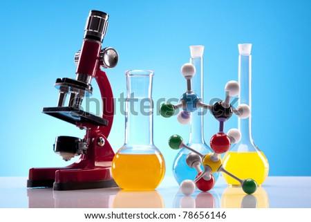 Chemistry equipment, laboratory glassware - stock photo