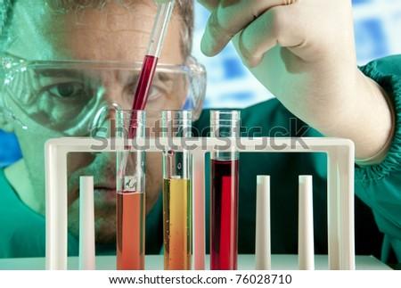 Chemistry experiments - stock photo