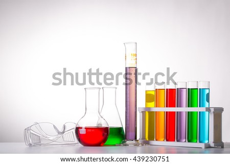 Chemistry flask glassware for test laboratory. - stock photo