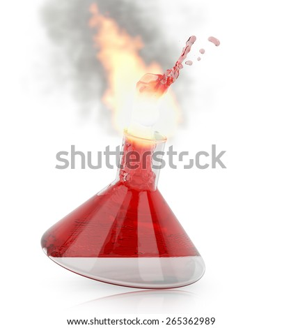 Chemistry flask with burning red liquid on white background. 3d render - stock photo