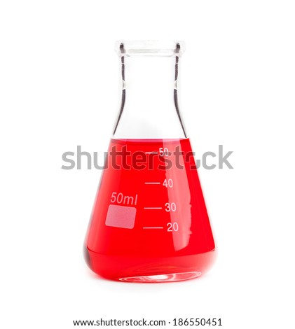 chemistry flask with red liquid - stock photo