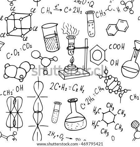 chemistry hand drawn doodles background science illustration - Chemistry Coloring Book