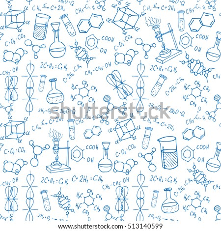 chemistry hand drawn doodles background. science illustration