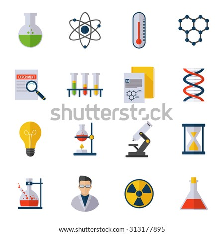 Chemistry icon flat set with scientist atom molecule dna isolated  illustration - stock photo