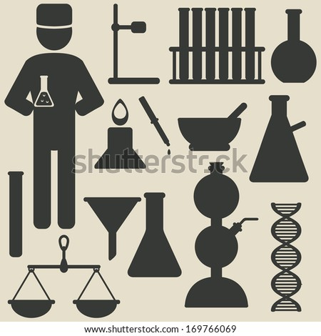 chemistry icons - raster version - stock photo