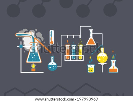 Chemistry infographics template showing various tests being conducted in laboratory glassware using colorful chemical solutions and reactions on a grey background conceptual of science and industry - stock photo