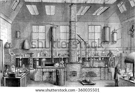 Chemistry Laboratory at the Ecole Normale in Paris, vintage engraved illustration. Magasin Pittoresque 1870. - stock photo