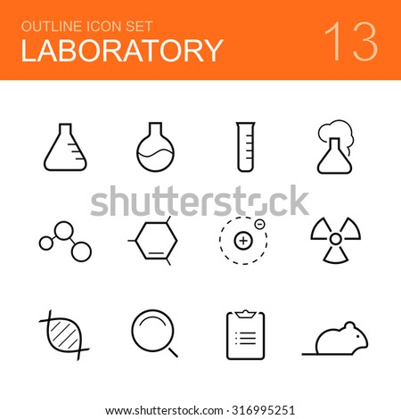 Chemistry laboratory outline icon set - bottle, tube, reaction, molecule, atom, radiation, dna, research, report and rat - stock photo