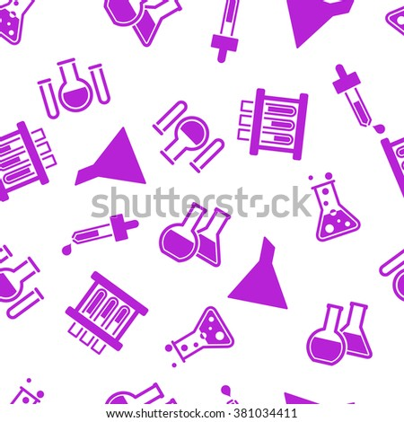 Chemistry Labs Seamless glyph repeatable pattern. Style is flat symbols on a white background. - stock photo