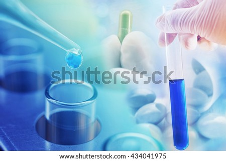 chemistry medicine research at science lab , pharmaceutical background