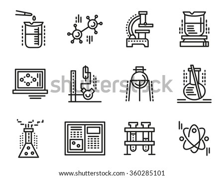 Chemistry Objects Symbols Education Simple Line Stock Illustration