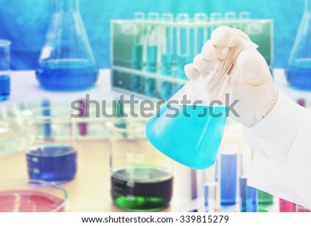 chemistry research at science background - stock photo