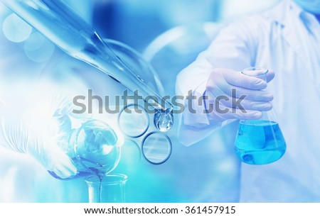 chemistry research at science lab blur background - stock photo