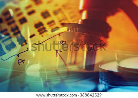 Chemistry science formula and microscope. Science symbol. - stock photo