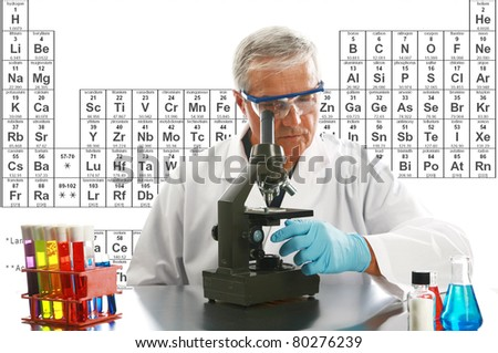 Chemistry, Science, Medical, Education - a medical research scientist or chemist works on a cure for something to help mankind. isolated on white with room for your text. periodic table in background - stock photo