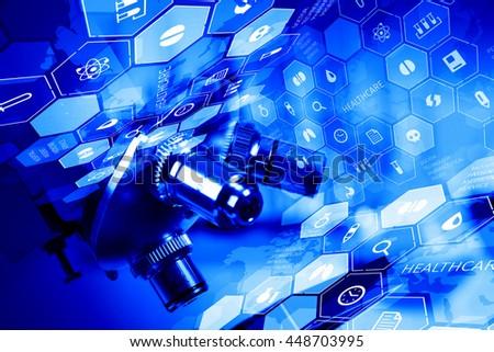 Chemistry still life  .mixed media - stock photo