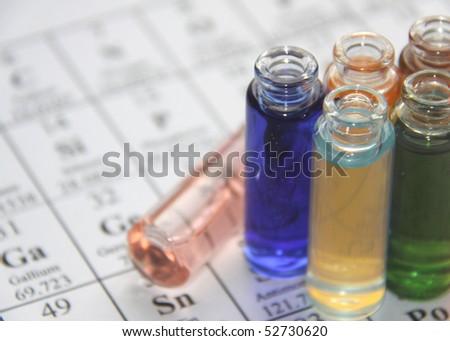 Chemistry. Test tube series - stock photo