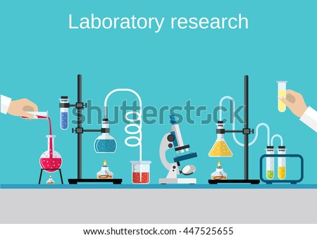 Chemists scientists equipment. flat design workspace concept. Chemistry and physics biology infographic icons. Laboratory lab with microscope, alembic vial hourglass dropper, Raster version