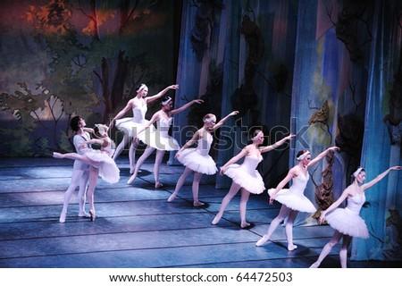 CHENGDU, CHINA - DECEMBER 25: Russian national ballet perform Swan Lake ballet at Jinsha theater December 25, 2009 in Chengdu, China - stock photo