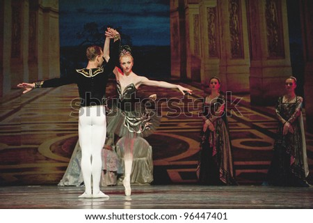 "CHENGDU, CHINA - DECEMBER 25: Unidentified members of the Russian Ballet perform ""Swan Lake"" at Jinsha theater on December 25, 2010 in Chengdu, China."