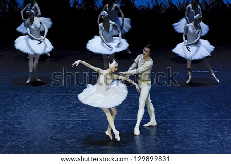 CHENGDU, CHINA - JAN 5: The national ballet of China perform on stage at Jincheng theater on Jan 5, 2012 in Chengdu, China. - stock photo