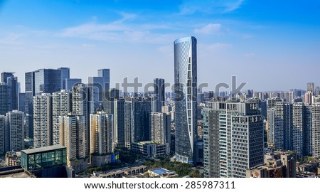 CHENGDU,CHINA - May 2,2015:city panorama of chengdu,china.One of the fastest growing city at west of china.