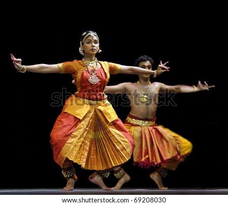"CHENGDU, CHINA  - OCT 24: Indian folk dance ""Tillana"" is performed by Kalakshetra dance institute of India at Jincheng Theater during the festival of India in China on Oct. 24, 2010 in Chengdu, China."