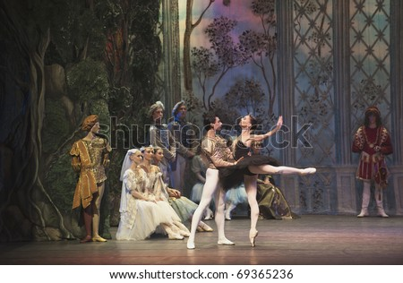CHENGDU, CHINA - OCTOBER 2: Russian national ballet perform Swan Lake ballet at Jincheng art theater October 2, 2010 in Chengdu, China - stock photo