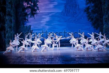 CHENGDU, CHINA - OCTOBER 2: Russian national ballet perform Swan Lake ballet at Jincheng Art Palace October 2, 2010 Chengdu, China - stock photo